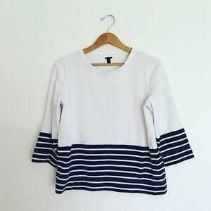 J. Crew white/navy blue striped sweatshirt sweater